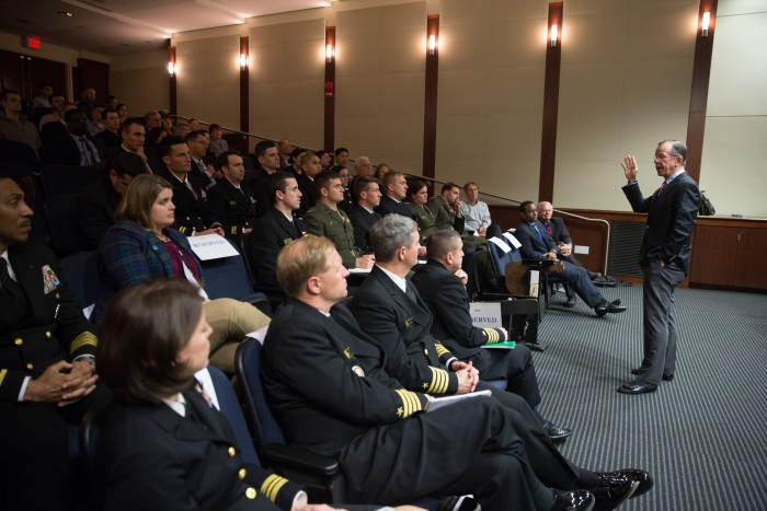 ADM Mullen speaking to an engaged audience