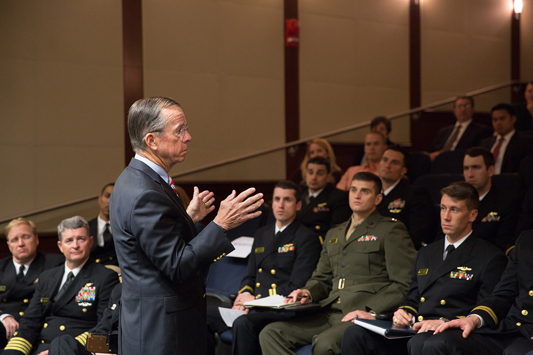 Former Chairman of the Joint Chiefs of Staff Admiral Michael Mullen speaking at the LEAD Distinguished Speaker Series.