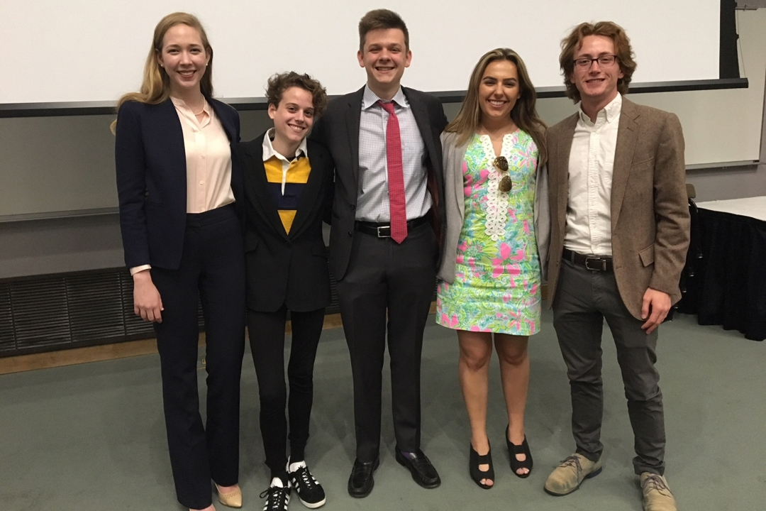 The five student speakers who competed in the 2018 Oral Advocacy Showcase and Competition.